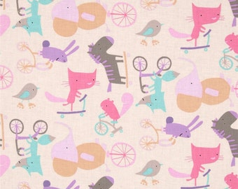 Animals Riding Bikes! - Wheels in Picnic, Play Date Collection by David Walker for Free Spirit Fabrics 4185