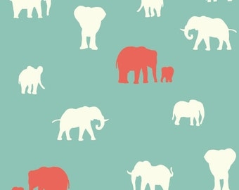 Serengeti, The Herd in Pool by Jay Cyn Designs for Birch Organic Fabrics, Elephants 3531