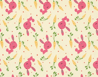 Bunny and Carrots in Pink, Garden Collection by David Walker for Free Spirit Fabrics 4181