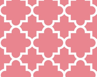 Pink Quatrefoil in Knit, Desert Sky BOLT Collection, Made in USA, Cotton Jersey Knit Fabric Sold by the Yard 5615