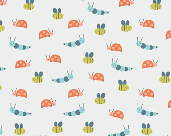 Garden Friends in Citron, Spring Walk Collection by Little Cube for Cloud 9 Organic Fabrics 1122