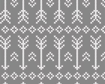 Grey Stitched Arrow in KNIT, Desert Sky BOLT Collection, Made in USA, Cotton Jersey Knit Fabric 5605