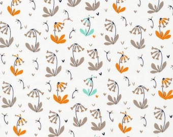 Cowslips in Grey, Foxglove Collection by Aneela Hoey for Cloud 9 Organic Fabrics 1128