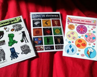 Sticker Sheets (Steven Universe, Minecraft, Game Of Thrones, My Little Pony)
