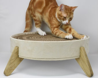 Cat Scratcher and Cat Bed - Off white vegan suede fabric, large long-lasting cardboard insert and handcrafted all wood platform