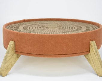 Cat Scratcher and Cat Bed - Burnt orange fabric, large long-lasting cardboard insert and handcrafted all wood platform