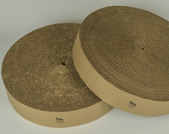 Two Replacement cardboard scratching inserts for The Cat Wheel by Catnap Workshop