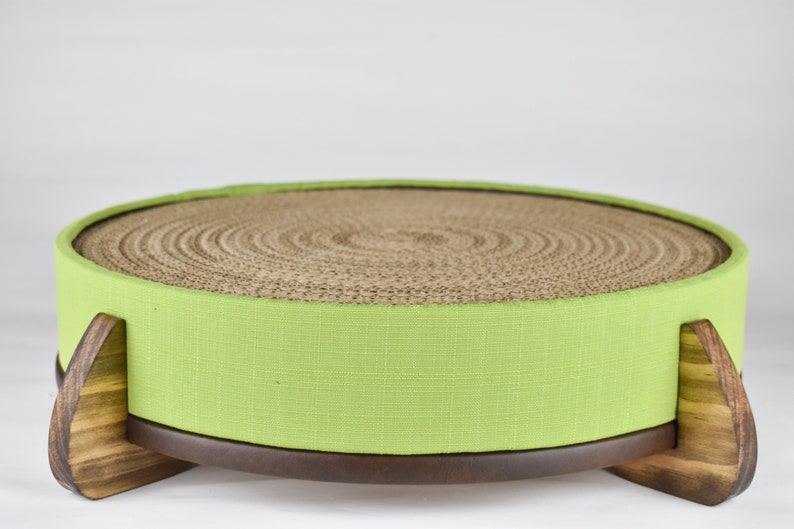 Lime Fabric cover handcrafted wood legged base and large long-lasting replaceable cardboard insert Cat Scratcher and Cat Bed -