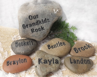our grandkids rock set 11 to 15 names gift for mom personalized custom gift landscape engraved stones custom gift god rocks - Personalized Garden Stones