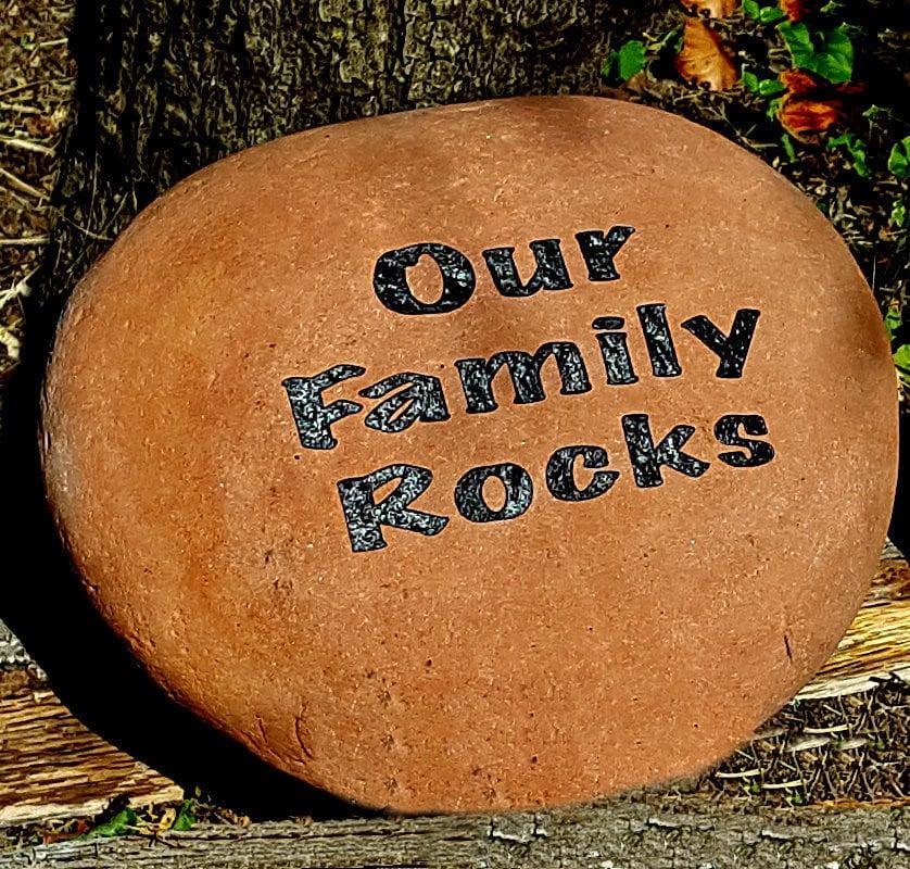 Engraved Our Family Rocks Garden Stone Name Rocks For Etsy
