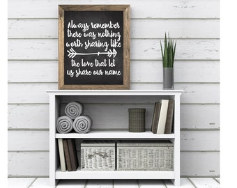Always Remember There Was Nothing Worth Sharing Like The Love That Let Us Share Our Name Valentines Day Digital Download Quote Decor Wedding