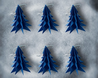 Blue Christmas Tree Ornament Origami 6 pack