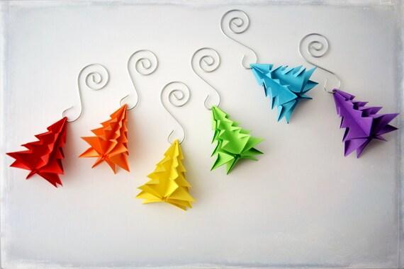 Regenbogen Weihnachtsschmuck Set Sechs Bunte Origami Etsy