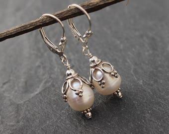 Freshwater Pearl Earrings, Sterling Silver, Large Freshwater Pearls, Elegant Earrings, Bridal Earrings, Romantic Earrings, Pearls, 925