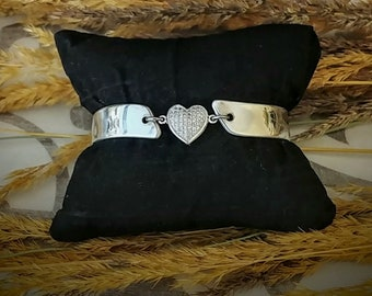 Cubic zirconia heart two piece spoon bracelet made of vintage silver plated Silverware with magnetic clasp. Free shipping within Canada
