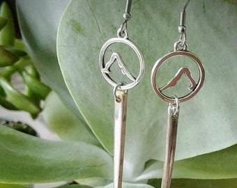 Yoga themed Silver fork tine earrings made from up-cycled vintage silver plate silverware. Free shipping within Canada.