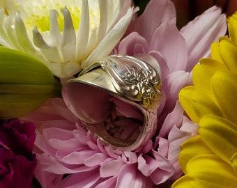 Demi Tasse spoon ring made from vintage silverplate silverware