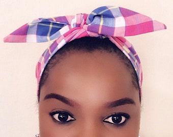Women's headband, retro style, women Head scarf, pink plaid, Dolly bow, Rosie headband