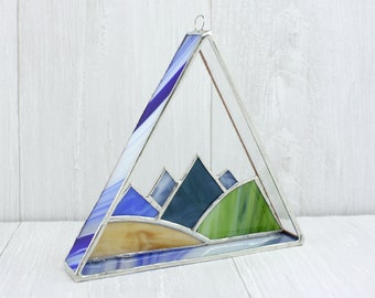 Stained Glass Mountain Suncatcher, Landscape Window Hanging, 3d Triangle Sun Catcher, Modern Window Decoration