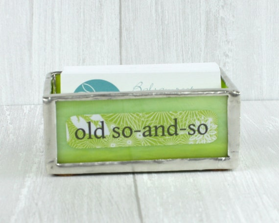Glass Business Card Holder Fun Word Decor Office Accessory Etsy