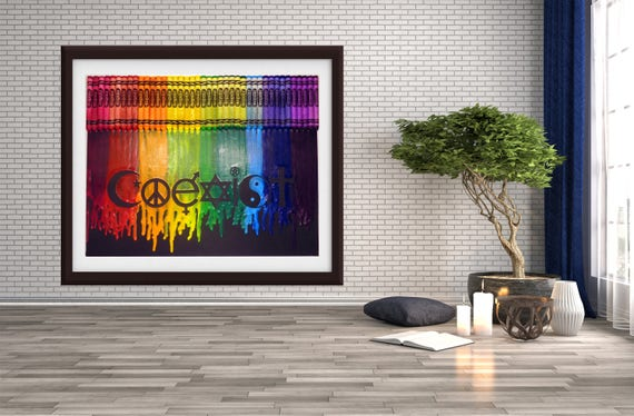 Coexist Melted Crayon Art Coexistence Wall Art Religion | Etsy