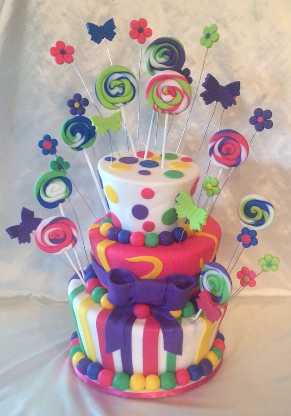 Topsy Turvy Candy Land Lollipop Faux Cake Fake Dummy