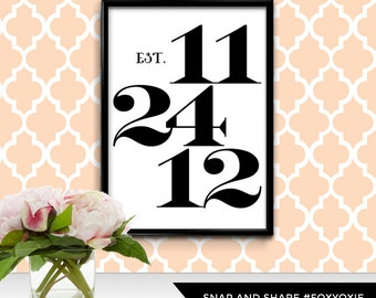 Anniversary Date Poster   Choose Your Date   Modern Wall Art   Custom Date Typography   Personalized Anniversary Gift   Digital File