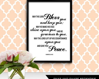 May the Lord Bless You and Keep You Bible Verse Typography Print Poster   Printable Digital File