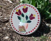 Custom Order Vase Tulips Stained Glass Stepping Stone - 12 quot Round