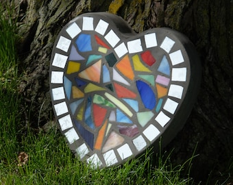 "Rainbow Mirror Mosaic Stained Glass Stepping Stone  - 9"" Heart"