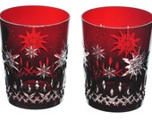 WATERFORD Lismore Pair of Double Old Fashioned Glasses Ruby Red Cut to Clear Crystal Snowflake Wishes 1st Edition FREE SHIPPING