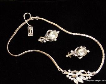 TRIFARI Patent Pending Rhinestone Necklace Set • w/Clip On Earrings • Mid Century Jewelry • Rhinestone Demi Parure • NOS w/Tags • USA