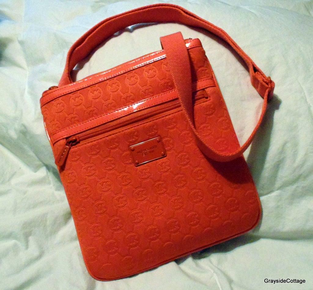 michael kors crossbody bag bright orange shoulder purse patent rh graysidecottage com