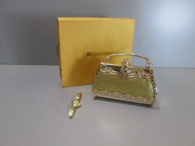 a46ac0101f Young Ladies Handbag, Gold Tone Metal w/Matching Watch ...