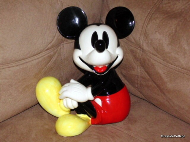 Large Mickey Mouse Music Box Porcelain Figurine He Plays