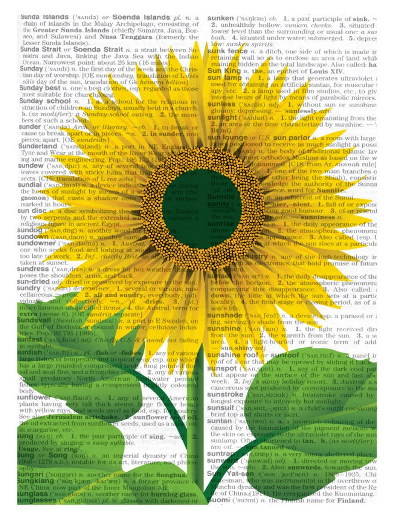 picture relating to Printable Sunflower identify Printable Sunflower, Sunflower Poster, Sunflower Print, Dictionary Print, Sunflower, Do-it-yourself Flower Print, Flower Print, Flower Artwork