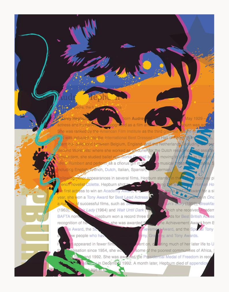 image regarding Printable Movie Poster titled Printable Video Poster, Typical Video Poster, Downloadable Online video Poster, Typical Poster, Audrey Hepburn Poster, Audrey Hepburn, Online video Poster
