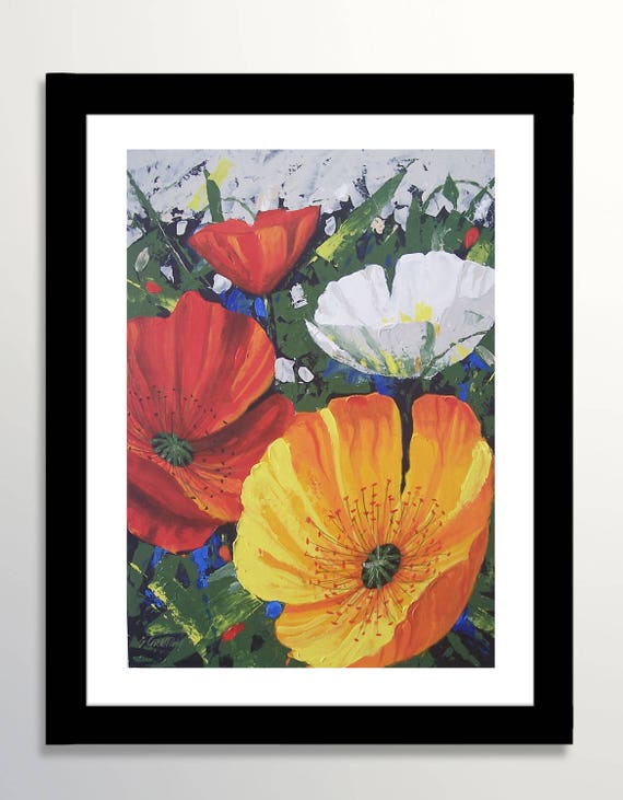 Poppies painting poppies flower painting original painting etsy image 0 mightylinksfo
