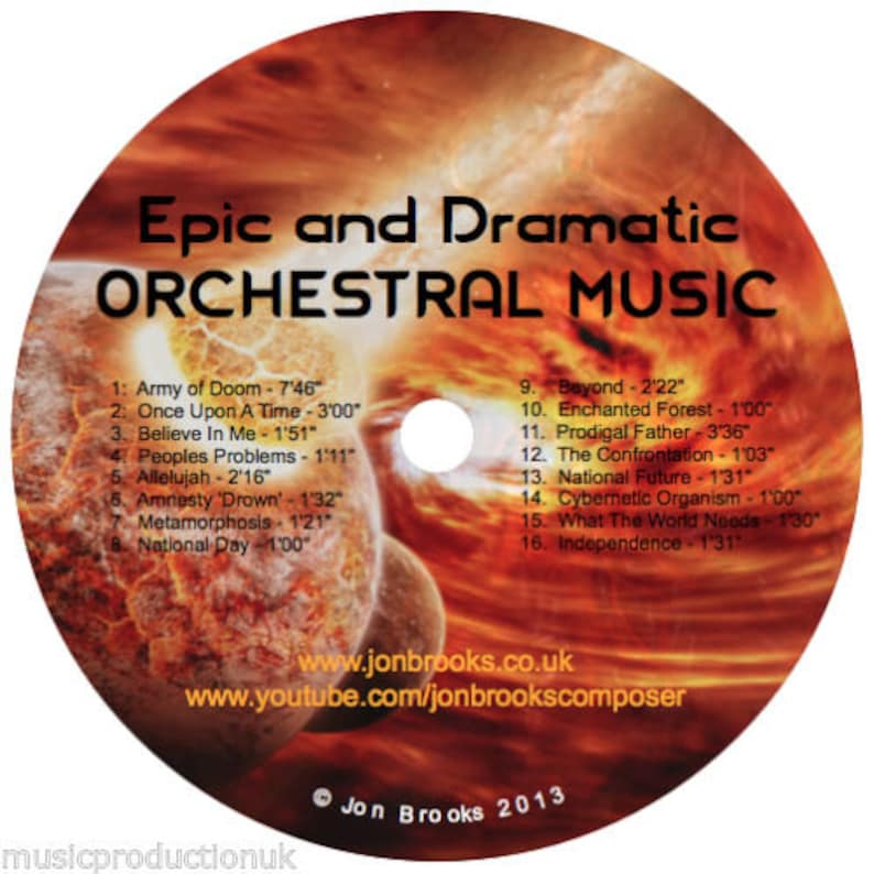 Epic Orchestral Music CD - Dramatic, Instrumental Music CD, Film,  Soundtrack, Orchestra, Symphonic Music