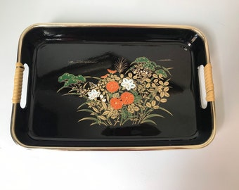 Vintage Lefton Floral Design Tray Small Rectangular Tray Dresser Tray Trinket Dish Inv.#1374