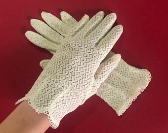Leopard Cream Lace Vintage Inspired Pinup Gloves 1950s 1960s