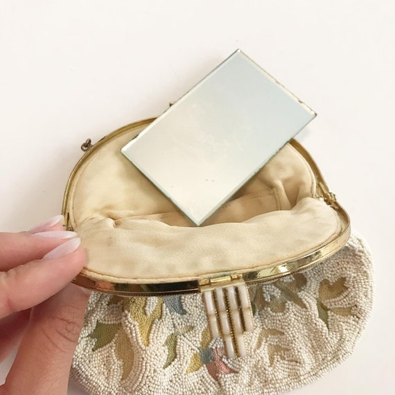 1930's French Micro Beaded Ivory Evening Purse - image 6