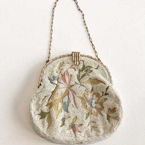 1930's French Micro Beaded Ivory Evening Purse