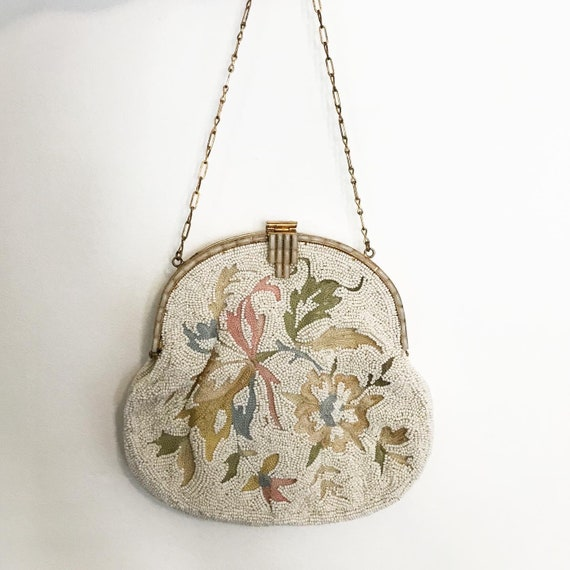 1930's French Micro Beaded Ivory Evening Purse - image 3