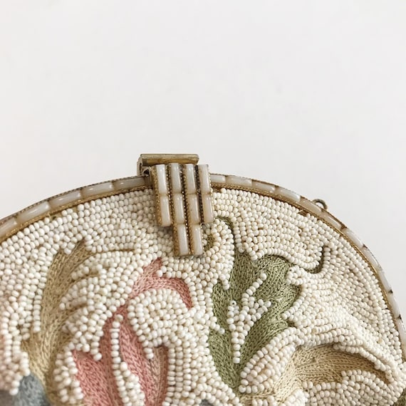 1930's French Micro Beaded Ivory Evening Purse - image 2