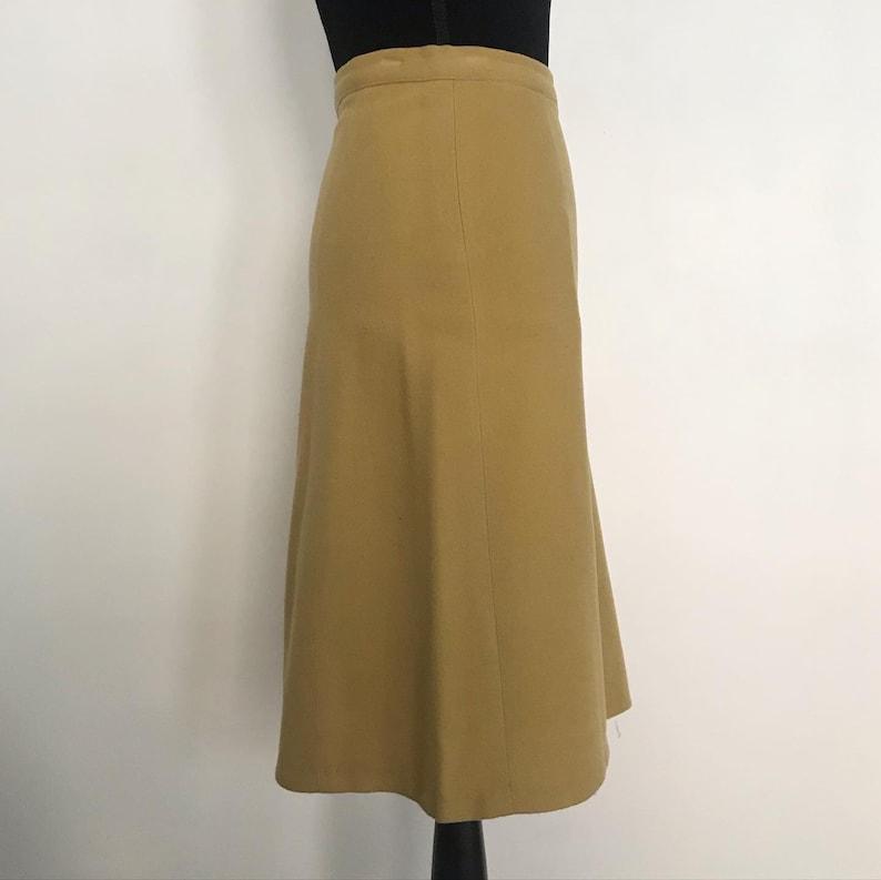 Vintage Mustard Wool Felt A-Line High Waist Skirt