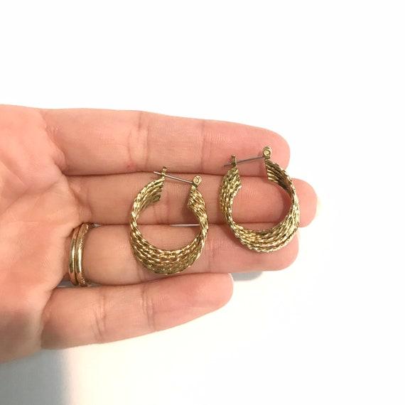 Vintage Gold Twist Hoop Earrings