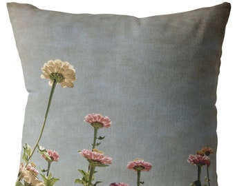Zinnia Field in Sunlight Throw Pillow