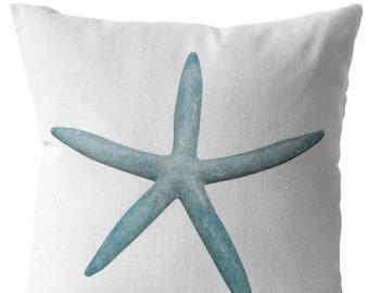 Blue Aqua Sea Star Starfish Throw Pillow Home Decor Beach Ocean