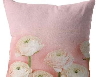 Pink Ranunculus Throw Pillow Garden Flower Floral Home Decor